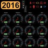 Carro do velocímetro do calendário do ano Vetor Imagem de Stock Royalty Free