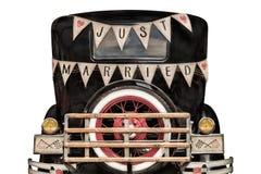 Carro do vintage com apenas a decoração casada Fotos de Stock Royalty Free