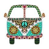 Carro do vintage da hippie uma mini camionete ilustração royalty free