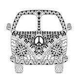 Carro do vintage da hippie uma mini camionete ilustração stock
