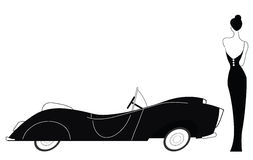 Carro do vintage e senhora à moda Imagem de Stock