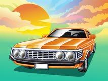 Carro do vintage no fundo do céu no estilo dos desenhos animados ilustração do vetor