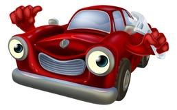 Carro dos desenhos animados com chave inglesa Imagens de Stock