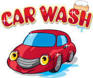 Carro dos desenhos animados com sinal da lavagem de carro Fotografia de Stock Royalty Free