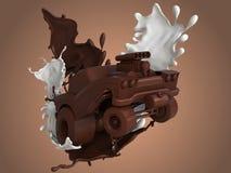 Carro dos desenhos animados do chocolate, respingo do chocolate, chocolate de leite no carro dos desenhos animados Fotos de Stock Royalty Free