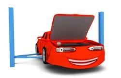 Carro dos desenhos animados no auto serviço Fotografia de Stock Royalty Free