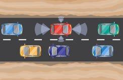 Carro Driverless, auto-conduzindo o automóvel, vista de cima de Imagens de Stock