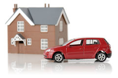 Carro e casa Fotografia de Stock Royalty Free