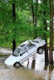 Carro e inundação repentina Fotos de Stock Royalty Free