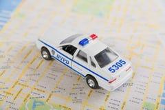Carro e mapa de estradas de NYPD Imagem de Stock