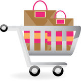 Carro e sacos de compra Foto de Stock