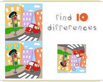 Carro e sinais dos desenhos animados Jogo educacional para crianças: achado Imagem de Stock Royalty Free