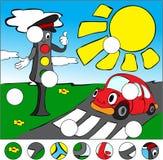 Carro e sinais na estrada em um cruzamento pedestre com Foto de Stock