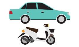 Carro e velomotor Foto de Stock Royalty Free