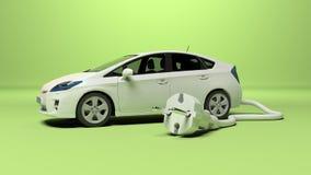 Carro elétrico com tomada elétrica ilustração stock
