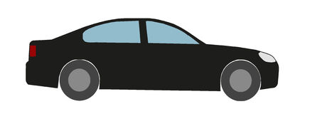 Carro elegante preto como o ícone liso Foto de Stock Royalty Free