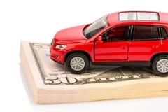Carro em notas de dólar fotos de stock royalty free