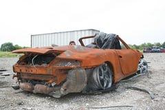 Carro em uma jarda de sucata Fotos de Stock Royalty Free