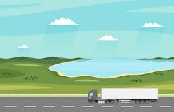 Carro en el camino Paisaje rural del verano con el lago Camión de remolque pesado Concepto logístico y de la entrega ilustración del vector