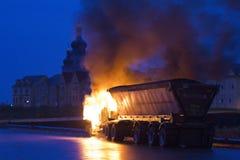 Carro en el fuego, Markham ENCENDIDO, Cathedraltown Fotos de archivo libres de regalías