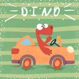 Carro engraçado da movimentação bonito de Dino ilustração do vetor