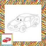 Carro engraçado dos desenhos animados Livro para colorir para crianças Fotos de Stock Royalty Free