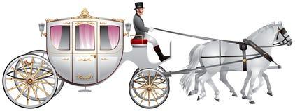 Carro, equipo blanco traído por caballo de la boda Fotos de archivo libres de regalías