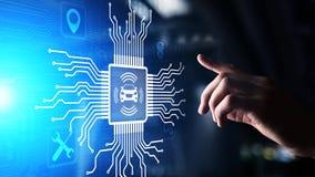 Carro esperto IOT e conceito moderno da tecnologia da automatização na tela virtual imagens de stock
