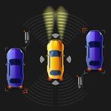 Carro esperto 2não pilotado Sistema de estrada inteligente ilustração do vetor