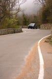 Carro, estrada, névoa, floresta Foto de Stock