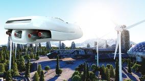 Carro futurista que voa sobre a cidade, cidade Transporte do futuro Silhueta do homem de negócio Cowering rendição 3d Fotos de Stock Royalty Free