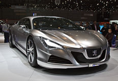 Carro híbrido do conceito HR4 de Peugeot Fotos de Stock
