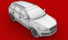 carro HD do fio-frame 3D Imagem de Stock