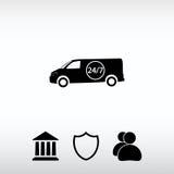 Carro 24 horas, entrega 24 horas de ícone Imagem de Stock Royalty Free