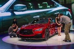 Carro infinito do conceito do vermelho de Q50 Eau Foto de Stock Royalty Free