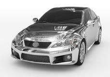 Carro isolado no branco - cromo, vidro matizado - lado dianteiro-esquerdo v ilustração royalty free