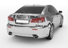 Carro isolado no branco - cromo, vidro matizado - lado para trás-direito v ilustração royalty free