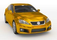 Carro isolado no branco - dourado, vidro matizado - lado dianteiro-direito ilustração do vetor