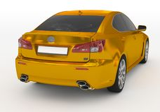Carro isolado no branco - dourado, vidro matizado - lado para trás-direito v ilustração stock