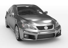 Carro isolado no branco - metal, vidro matizado - lado dianteiro-direito v ilustração do vetor