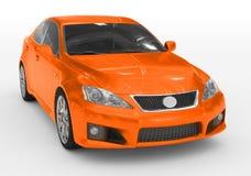 Carro isolado no branco - pintura alaranjada, vidro matizado - dianteiro-direito ilustração royalty free