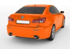 Carro isolado no branco - pintura alaranjada, vidro matizado - para trás-direito ilustração stock