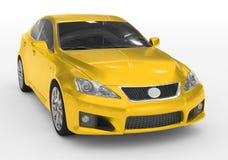 Carro isolado no branco - pintura amarela, vidro matizado - dianteiro-direito ilustração royalty free