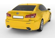 Carro isolado no branco - pintura amarela, vidro matizado - para trás-direito ilustração royalty free