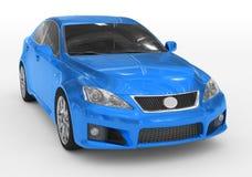 Carro isolado no branco - pintura azul, vidro matizado - s dianteiro-direito ilustração do vetor