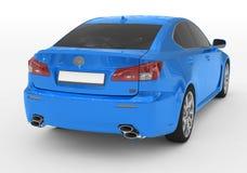 Carro isolado no branco - pintura azul, vidro matizado - si para trás-direito ilustração do vetor
