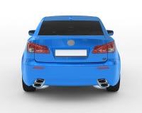 Carro isolado no branco - pintura azul, vidro matizado - vista traseira Imagens de Stock