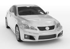 Carro isolado no branco - pintura branca, vidro matizado - dianteiro-direito ilustração stock