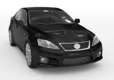 Carro isolado no branco - pintura preta, vidro matizado - dianteiro-direito ilustração do vetor