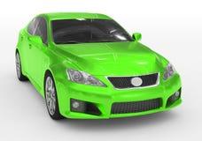 Carro isolado no branco - pintura verde, vidro matizado - dianteiro-direito ilustração stock